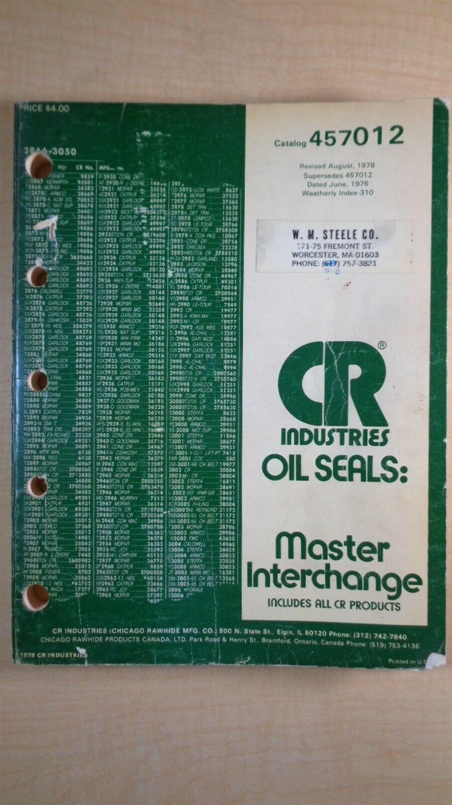 CR Industries Oil Seals Master Interchange Guide Manual 6C B2